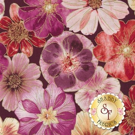 Floral Impressions 8676M-66 Impressions Floral Plum Magenta by Kanvas Studio for Benartex Fabrics