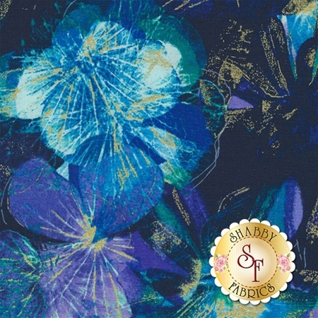 Floral Impressions 8677M-55 Photo Impressions Navy Turquoise by Kanvas Studio for Benartex Fabrics