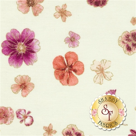 Floral Impressions 8678M-07 Pressed Flowers Cream by Kanvas Studio for Benartex Fabrics