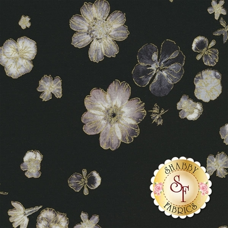 Floral Impressions 8678M-12 Pressed Flowers Black by Kanvas Studio for Benartex Fabrics