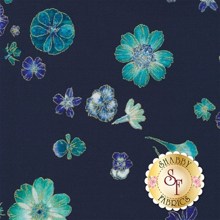 Floral Impressions 8678M-55 Pressed Flowers Navy by Kanvas Studio for Benartex Fabrics
