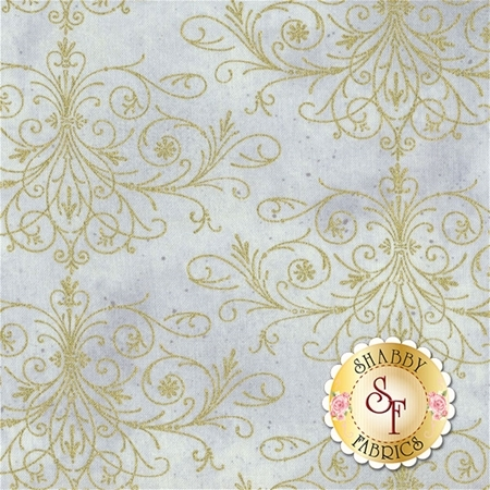 Floral Impressions 8679M-11 Washed Tonal Filigree Light Gray Gold by Kanvas Studio for Benartex Fabrics