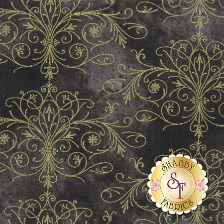 Floral Impressions 8679M-13 Washed Tonal Filigree Dark Gray Gold by Kanvas Studio for Benartex Fabrics