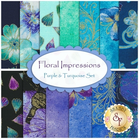 Floral Impressions  13 FQ Set - Purple & Turquoise Set by Benartex Fabrics