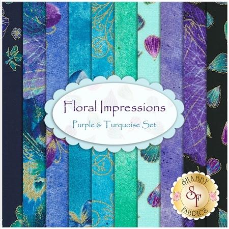 Floral Impressions  10 FQ Set - Purple & Turquoise Set by Benartex Fabrics