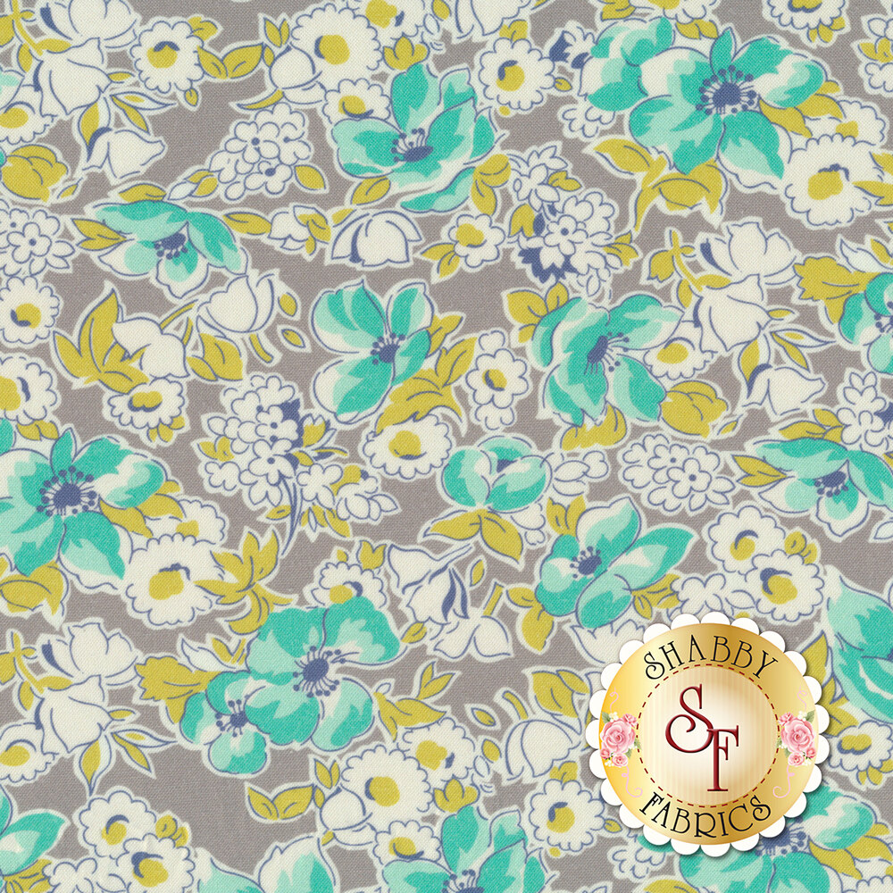 Teal flowers and white flowers with yellow on gray background | Shabby Fabrics