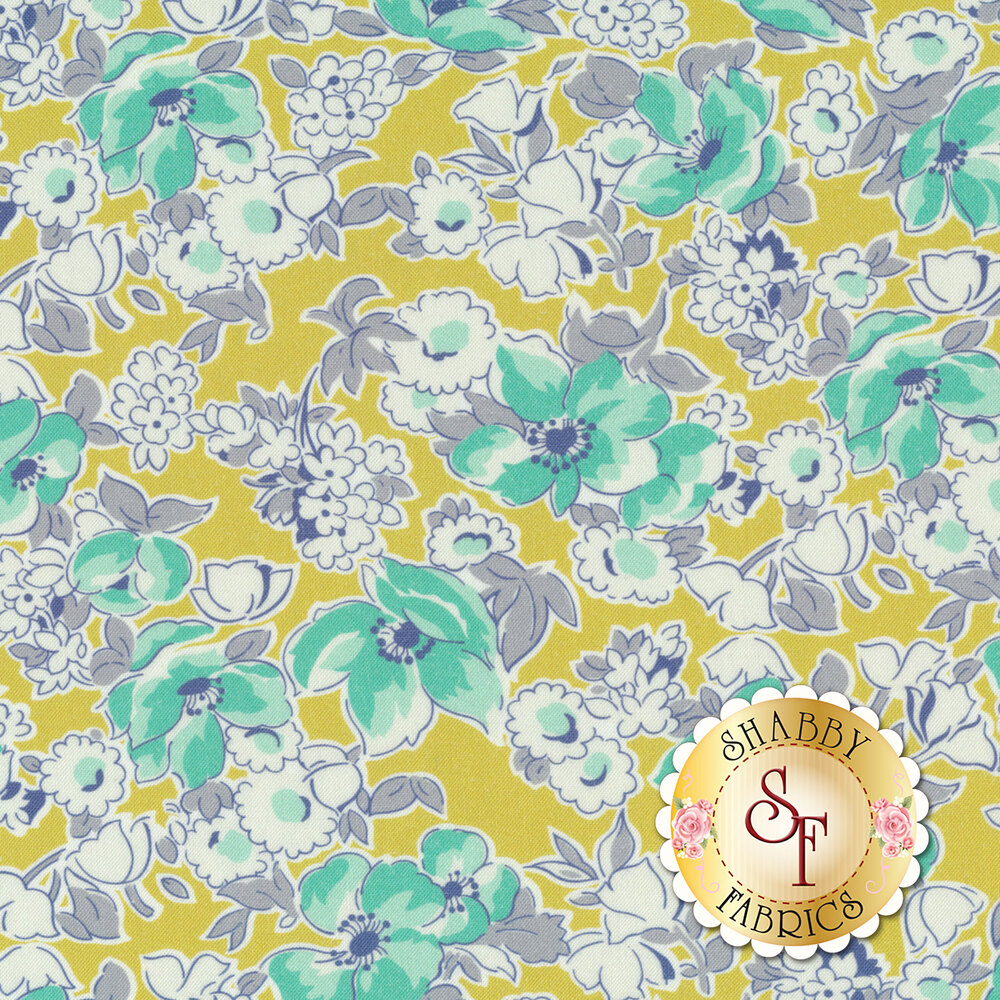 Teal flowers and white flowers with gray on a yellow background | Shabby Fabrics