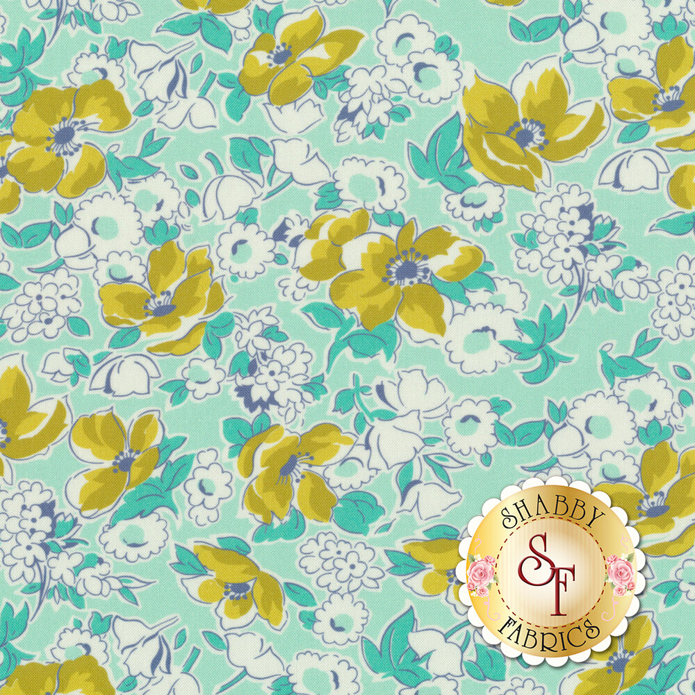 Yellow flowers and white flowers with teal on an aqua background   Shabby Fabrics