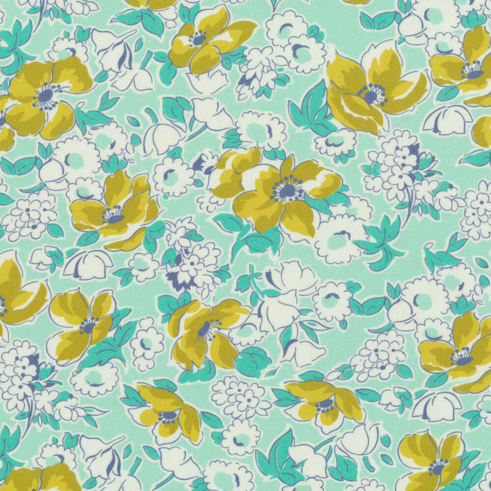 Yellow flowers and white flowers with teal on an aqua background | Shabby Fabrics