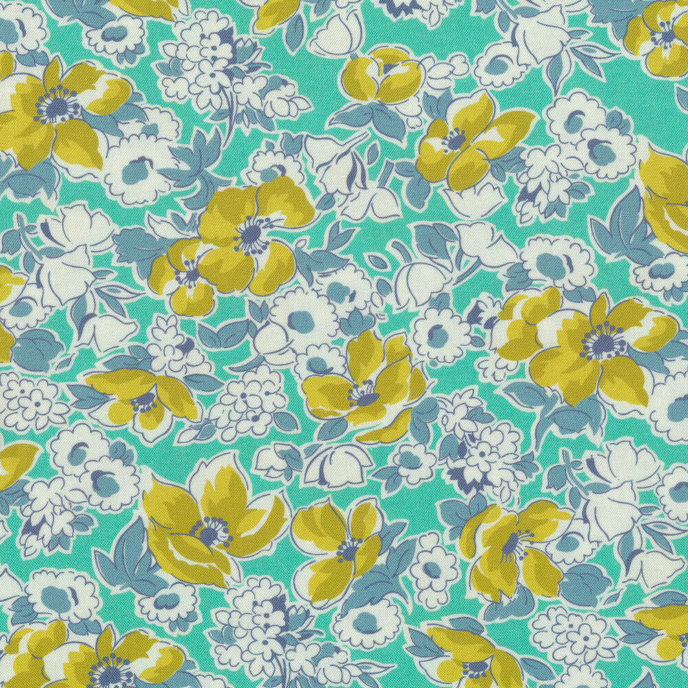 Yellow flowers and white flowers with blue on a teal background | Shabby Fabrics