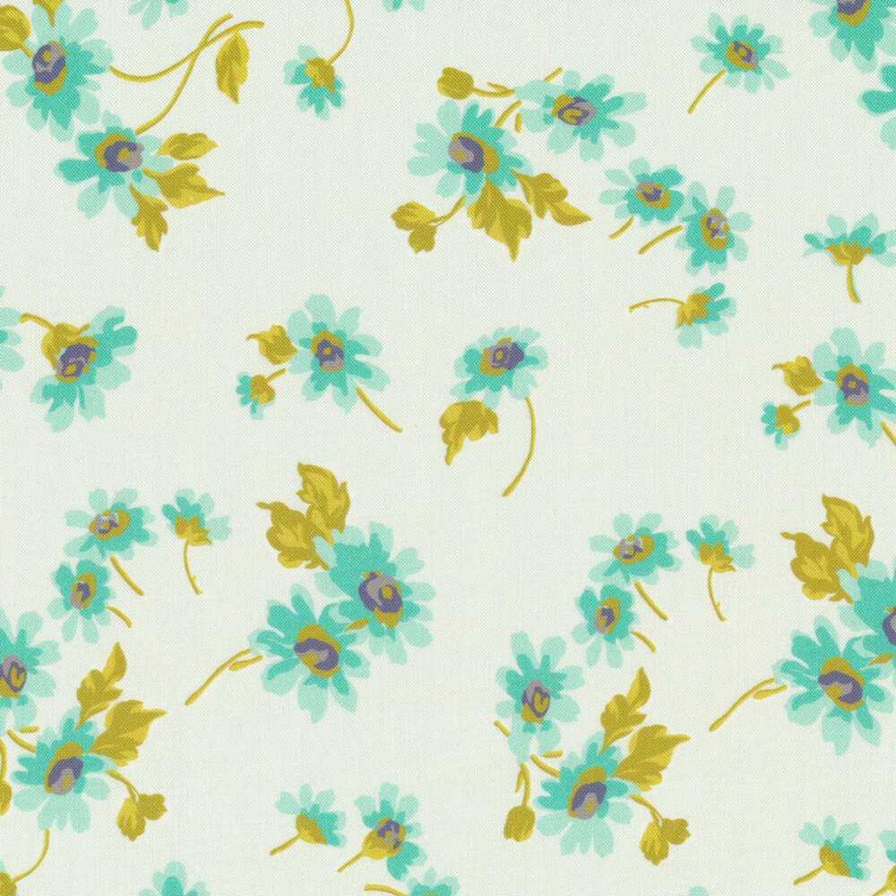 Teal flowers with green stems tossed on white   Shabby Fabrics