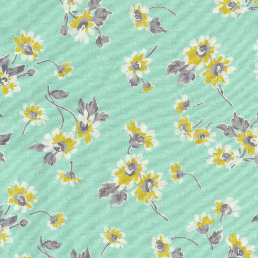 Yellow and white flowers with gray stems tossed on aqua | Shabby Fabrics