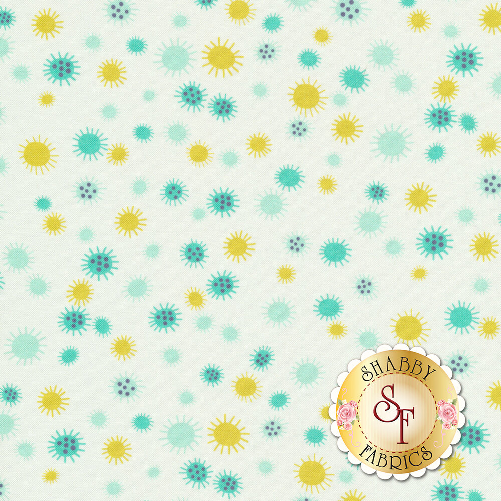 Yellow, white, and teal flowers or suns all over white | Shabby Fabrics