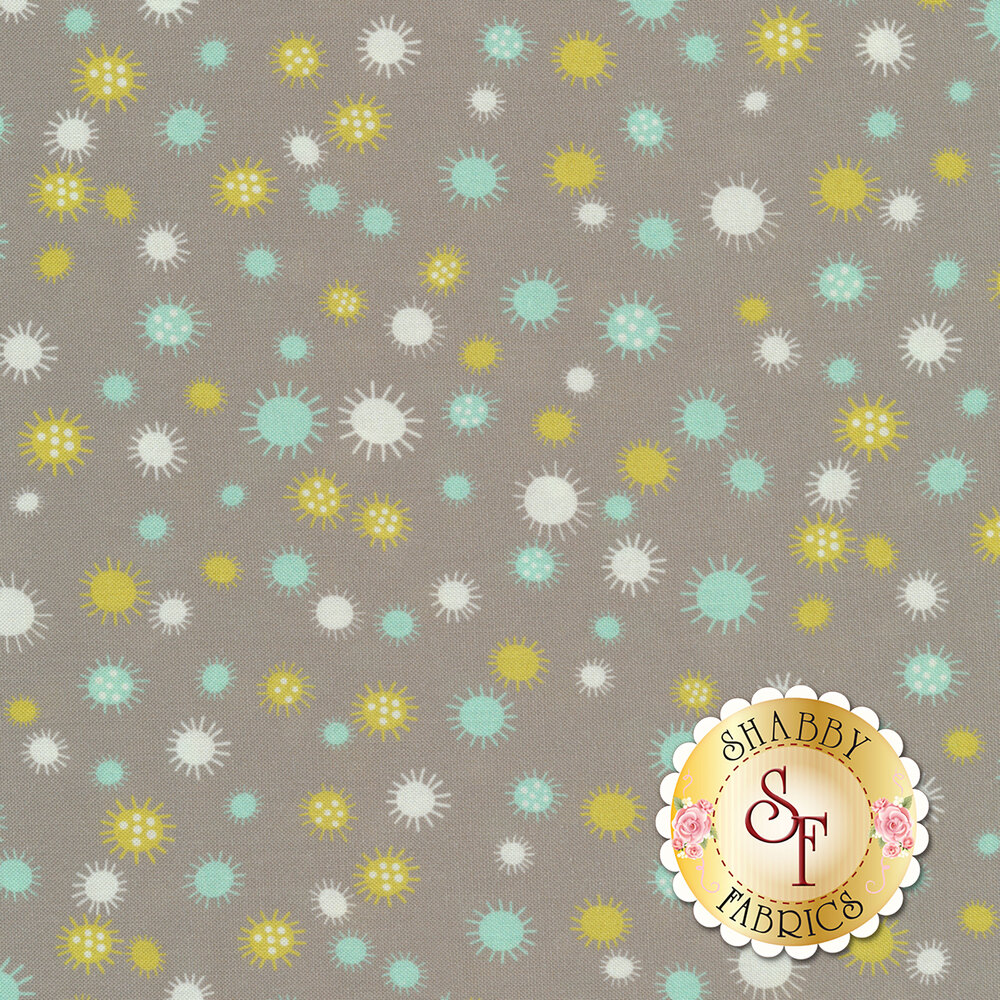 Yellow, white, and teal flowers or suns all over gray | Shabby Fabrics