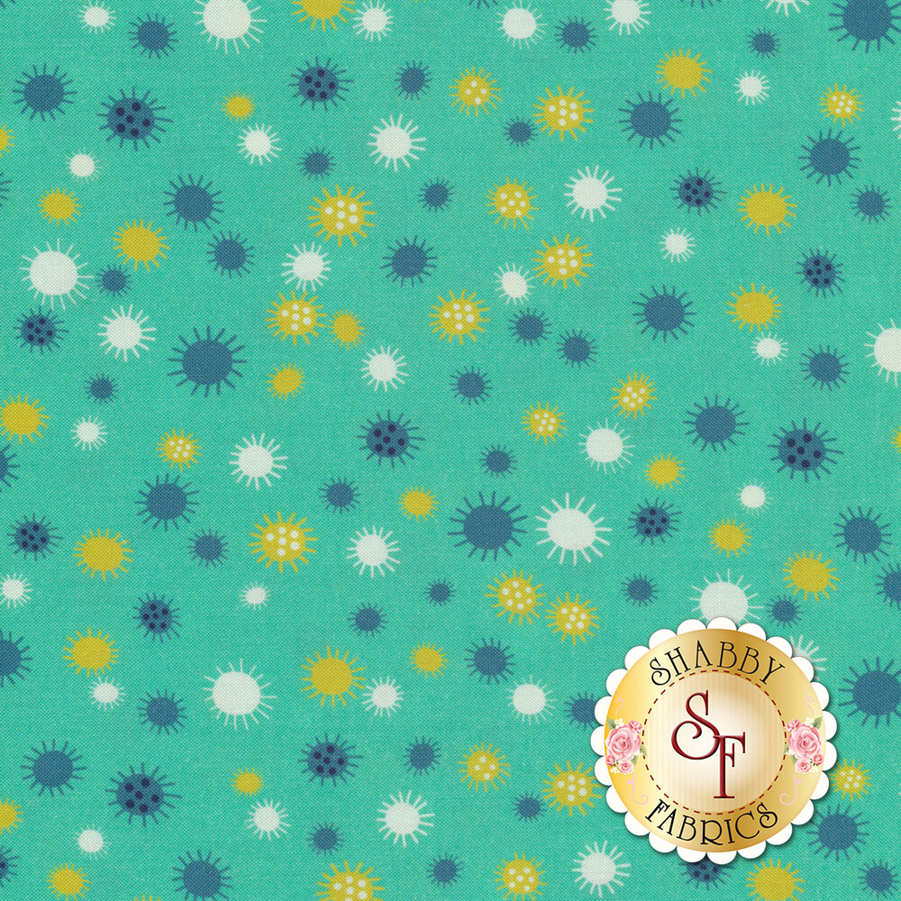 Yellow, white, and teal flowers or suns all over teal   Shabby Fabrics