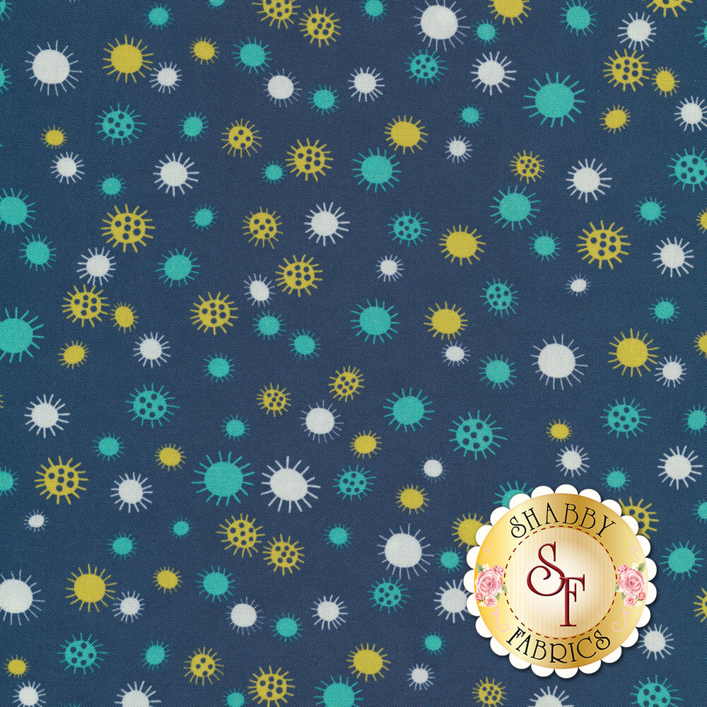 Yellow, white, and teal flowers or suns all over blue | Shabby Fabrics
