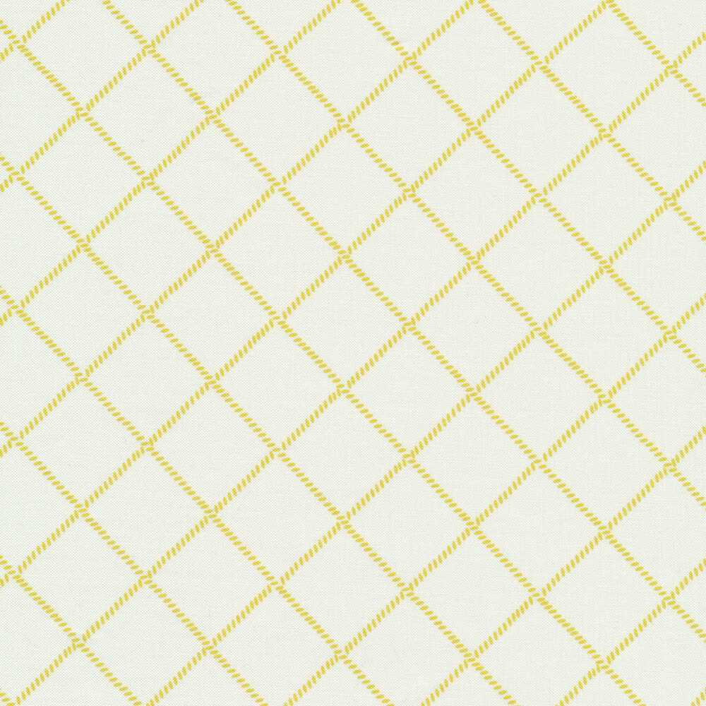 Yellow grid/lattice design on white | Shabby Fabrics