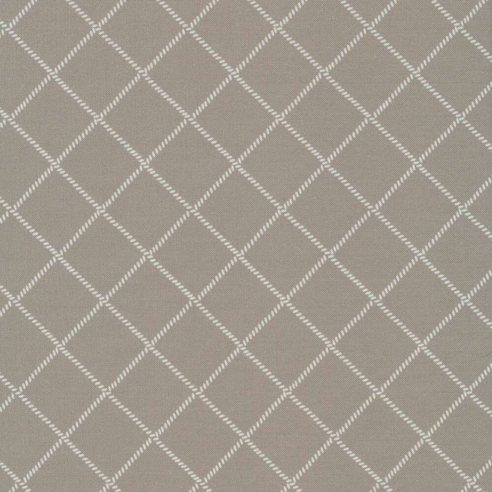 White grid/lattice design on gray | Shabby Fabrics