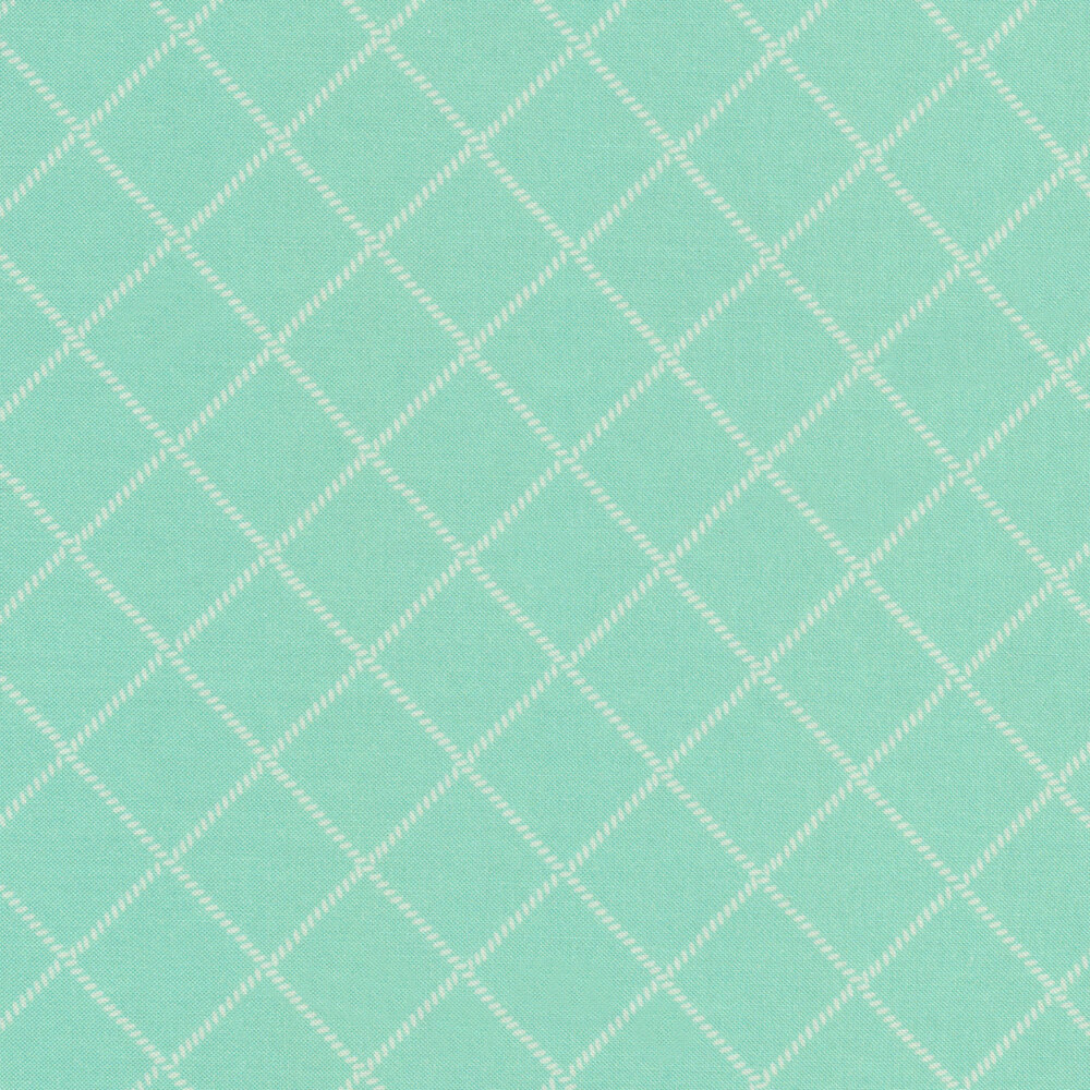 White grid/lattice design on aqua | Shabby Fabrics