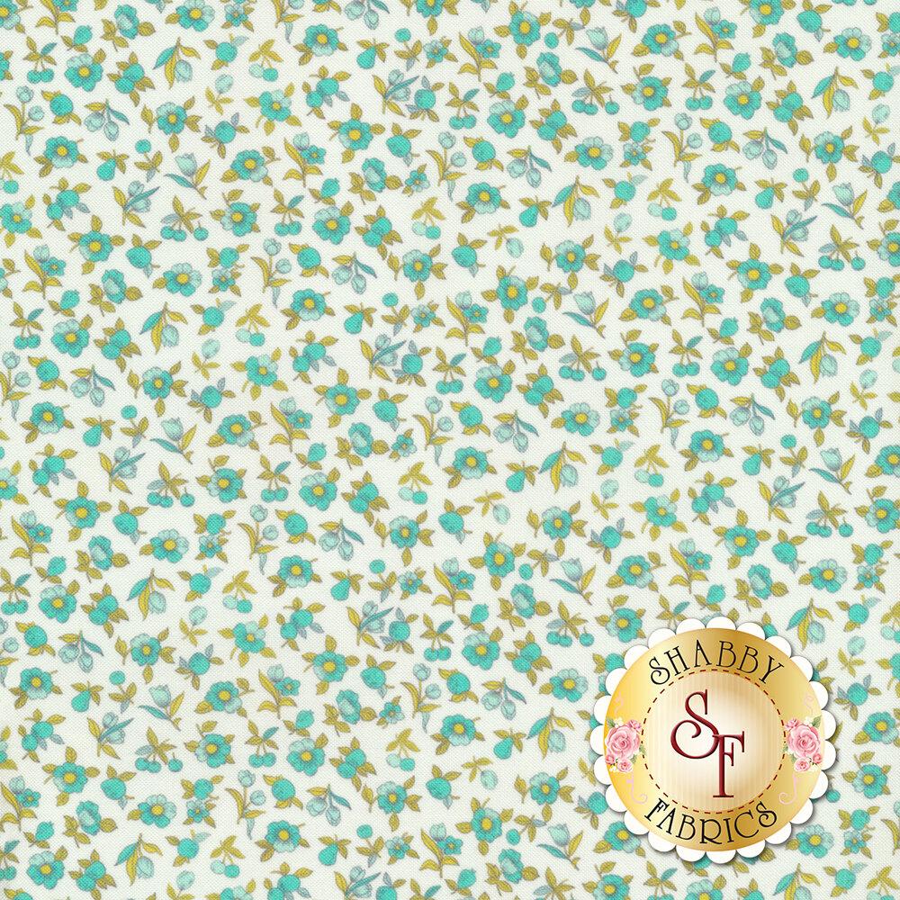 Tiny teal flowers all over white   Shabby Fabrics