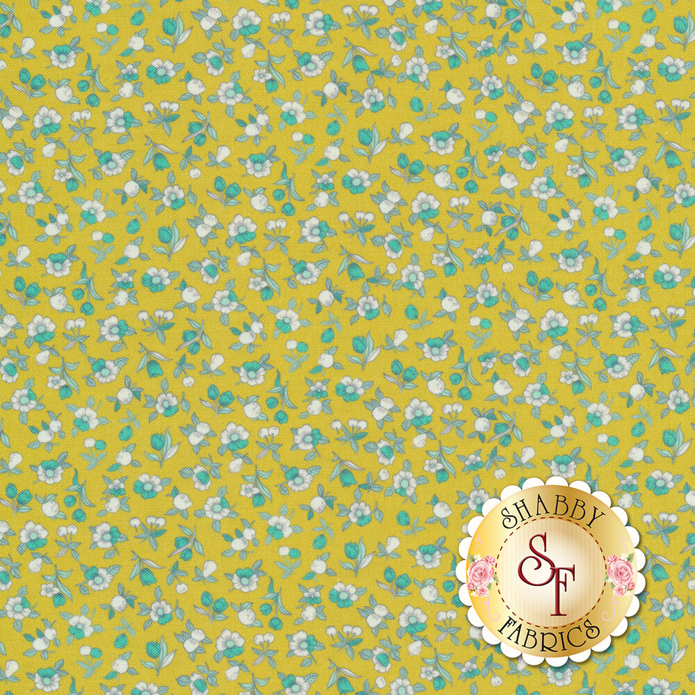 Tiny white and teal flowers all over yellow   Shabby Fabrics