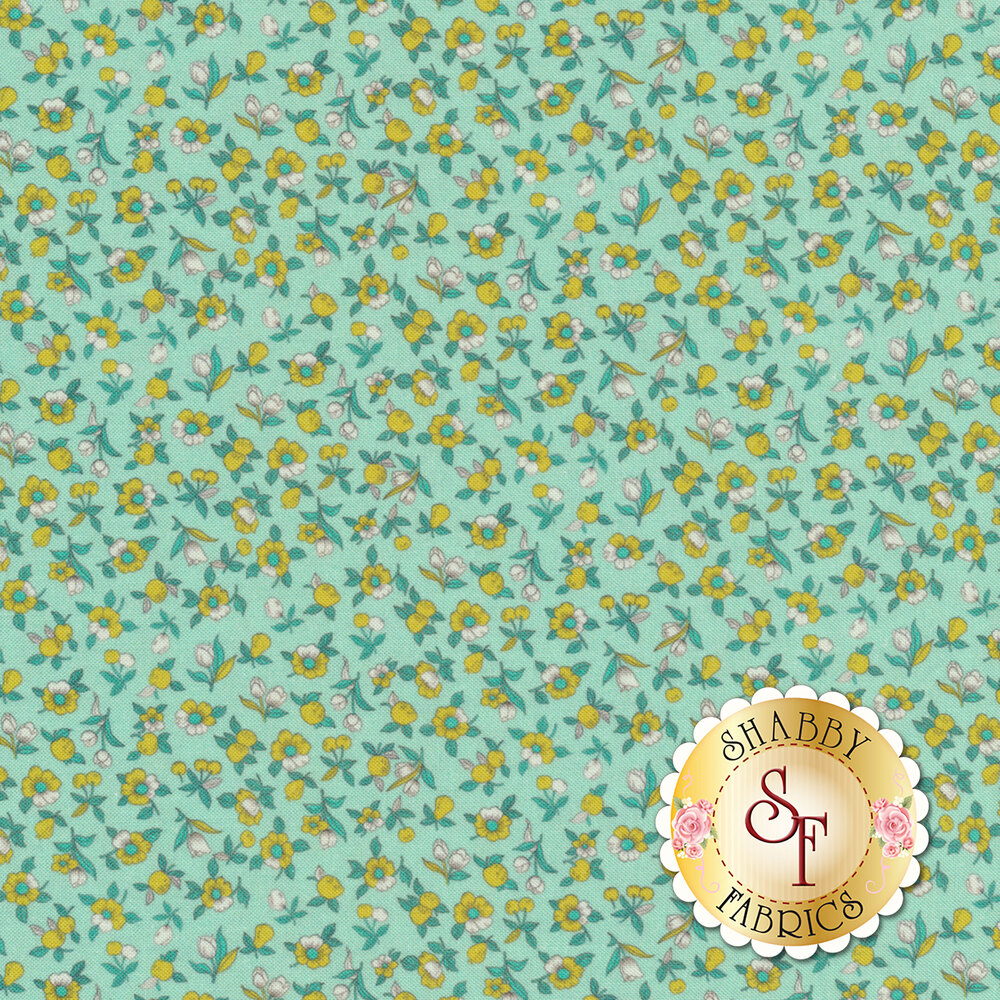 Tiny yellow and teal flowers all over aqua | Shabby Fabrics