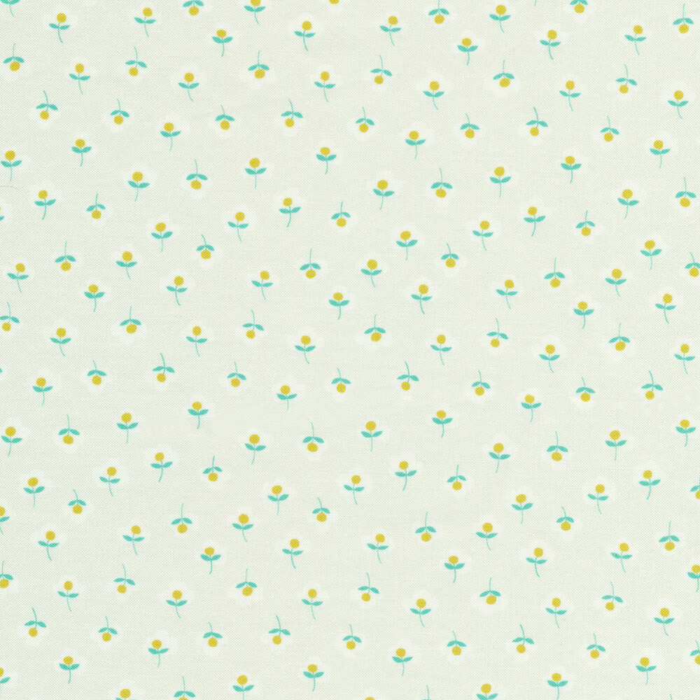 Tiny yellow and teal flowers on white | Shabby Fabrics