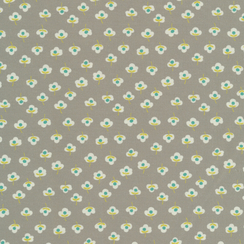 Tiny yellow and teal flowers on gray | Shabby Fabrics