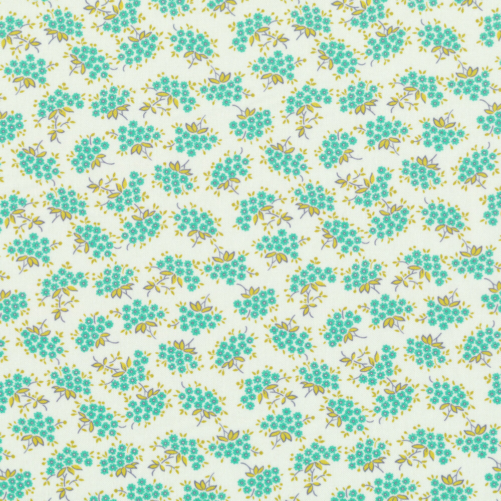 Small teal forget me not flowers with yellow leaves on white | Shabby Fabrics