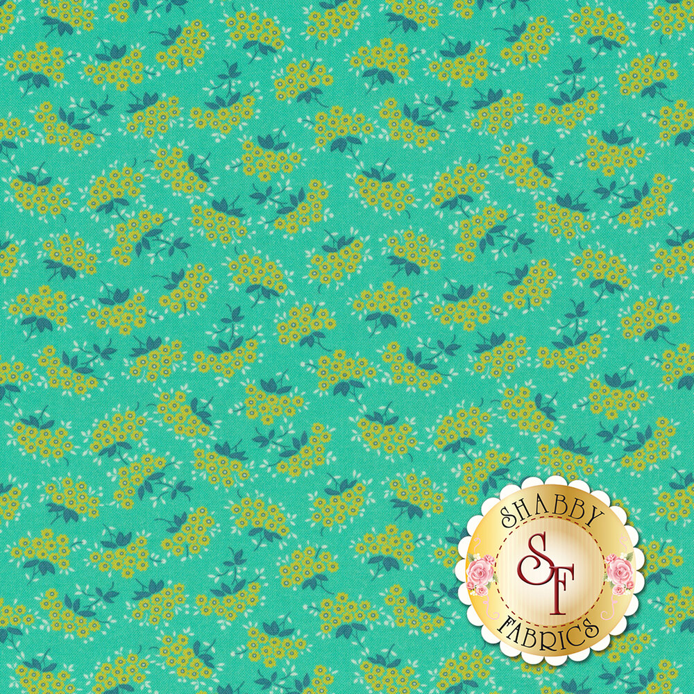 Small yellow forget me not flowers with blue leaves on teal | Shabby Fabrics