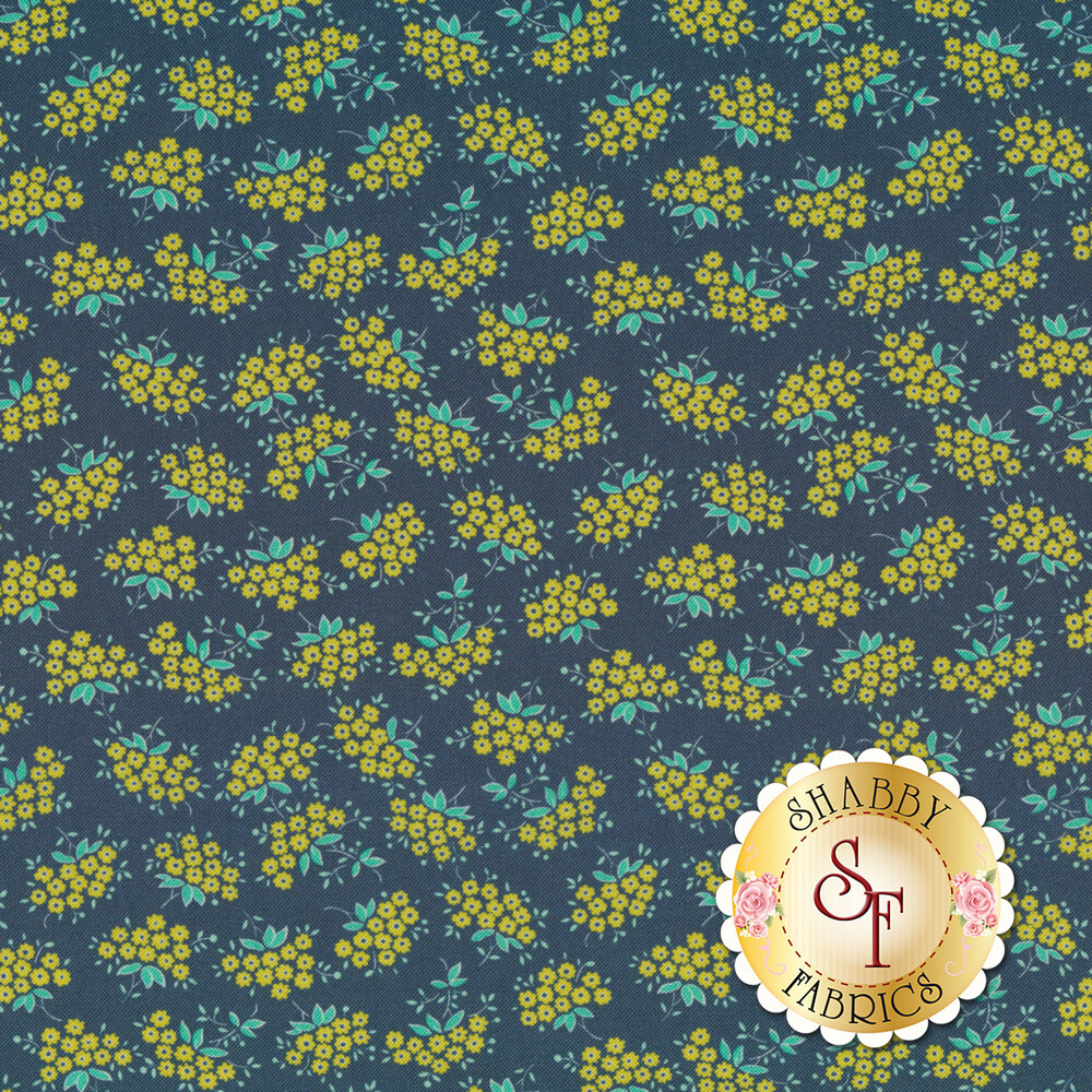 Small yellow forget me not flowers with teal leaves on blue | Shabby Fabrics