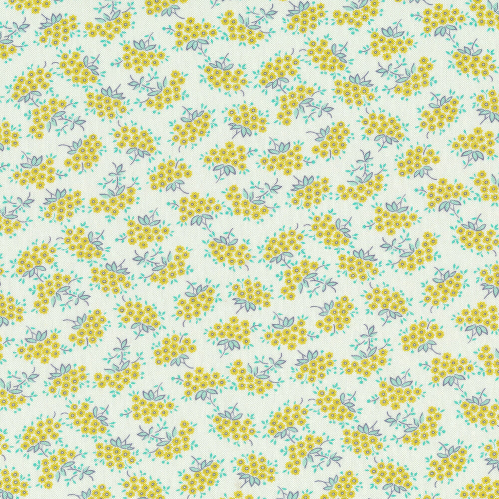 Small yellow forget me not flowers with light blue leaves on white | Shabby Fabrics