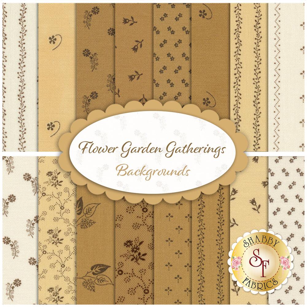 Flower Garden Gatherings Backgrounds 16 Fat Quarter Set by Primitive Gatherings