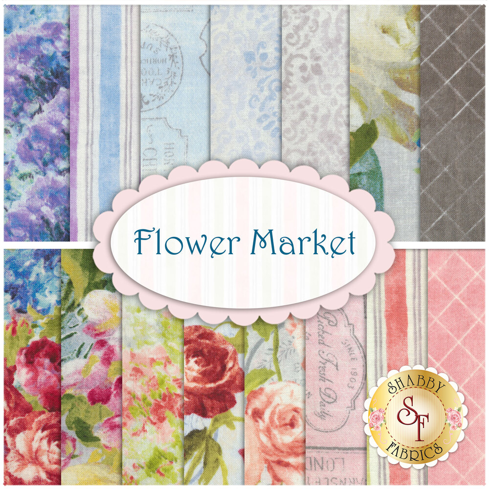 Collage of fabrics in Flower Market FQ set   Shabby Fabrics