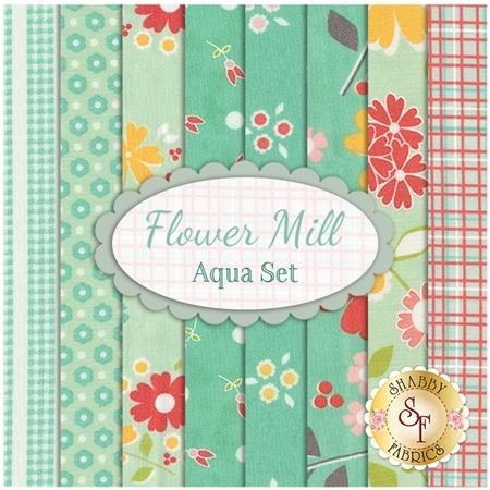 Flower Mill  8 FQ Set - Aqua Set by Corey Yoder for Moda Fabrics