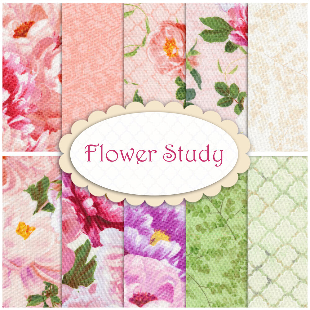 A collage of fabrics included in the Flower Study fabric collection