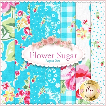 Flower Sugar Fall 2015  7 FQ Set - Aqua Set by Lecien Fabrics