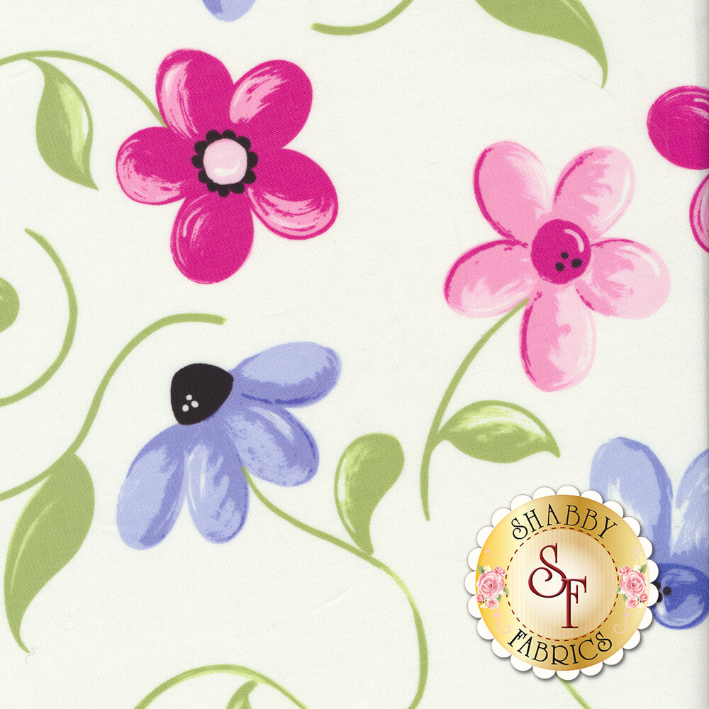 Tossed pink and blue flowers on white | Shabby Fabrics