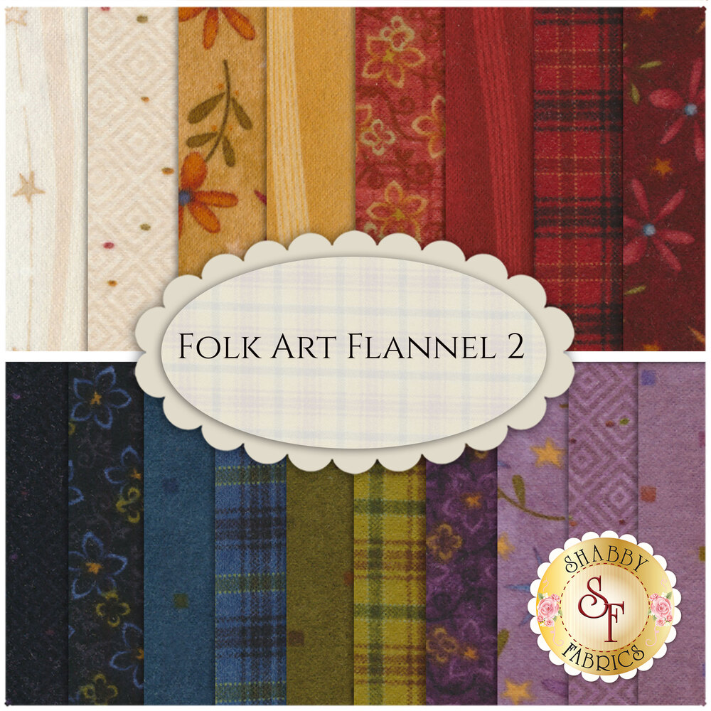 Folk Art Flannel II  18 FQ Set by Henry Glass Fabrics available at Shabby Fabrics