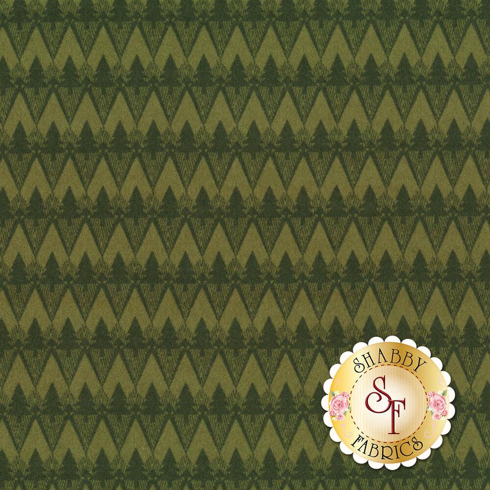 Tonal green geometric tree design | Shabby Fabrics
