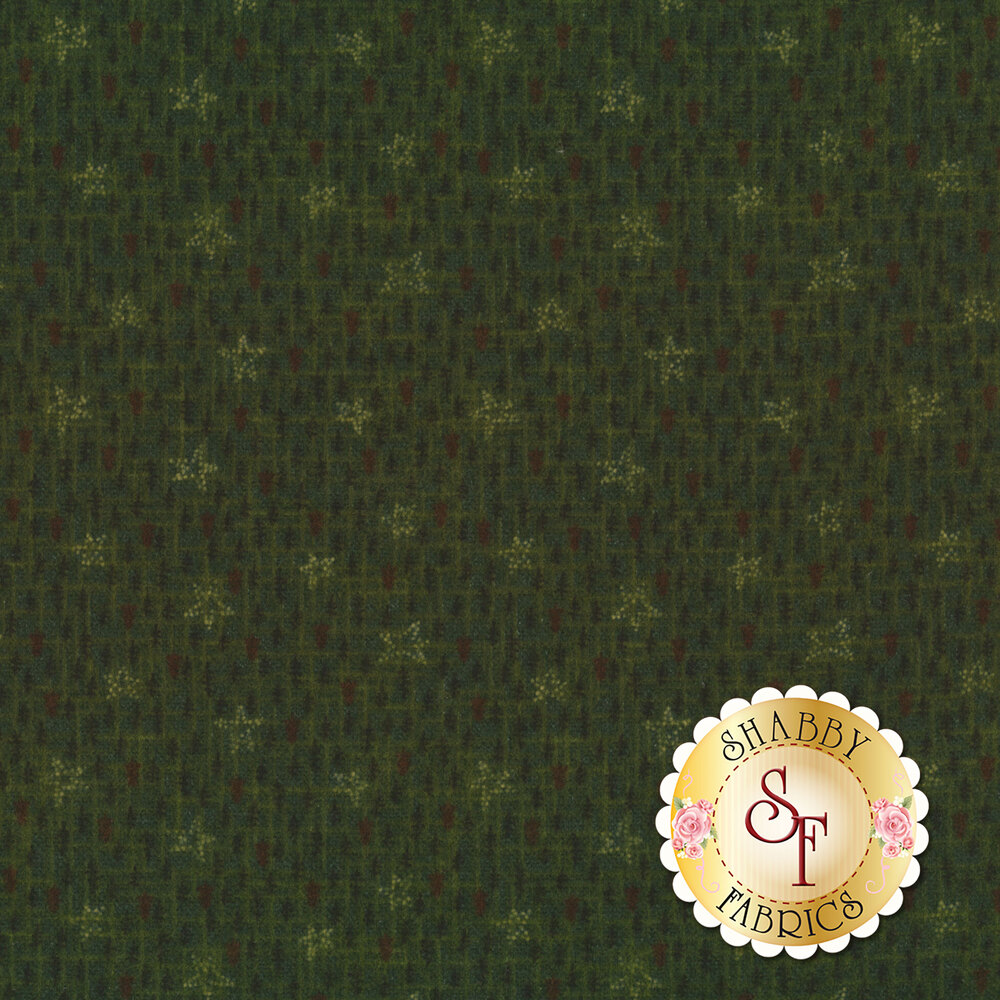 Dotted stars all over textured green with trees | Shabby Fabrics