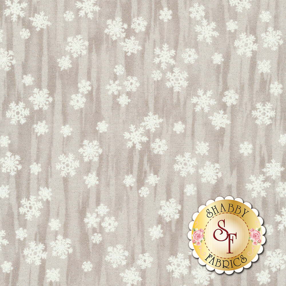 White snowflakes on a taupe distressed background | Shabby Fabrics