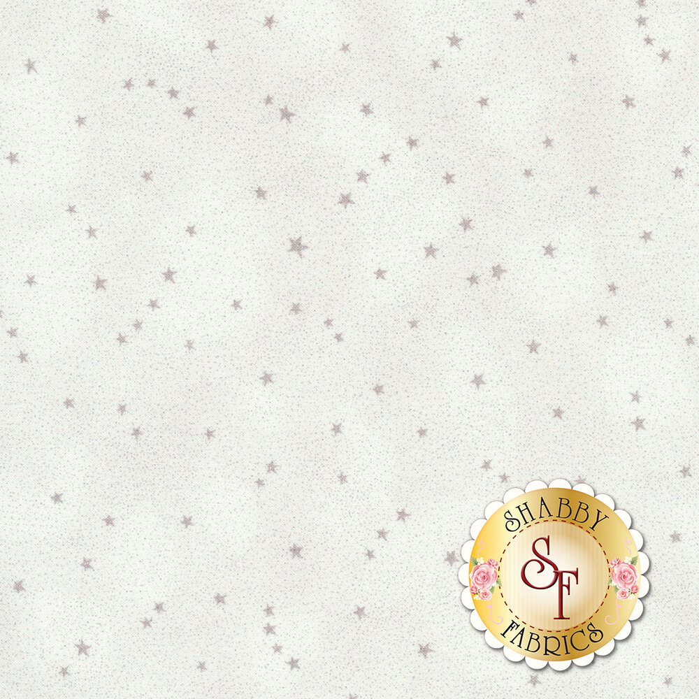 Small grey stars tossed on a white background | Shabby Fabrics