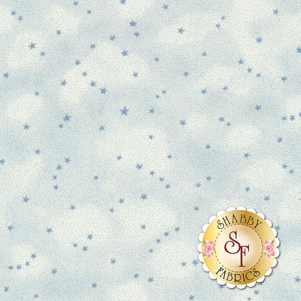 Light blue tonal mottled fabric with small blue stars | Shabby Fabrics