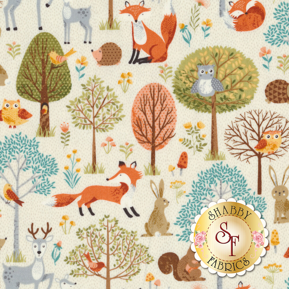 Foxes and other critters all over cream | Shabby Fabrics