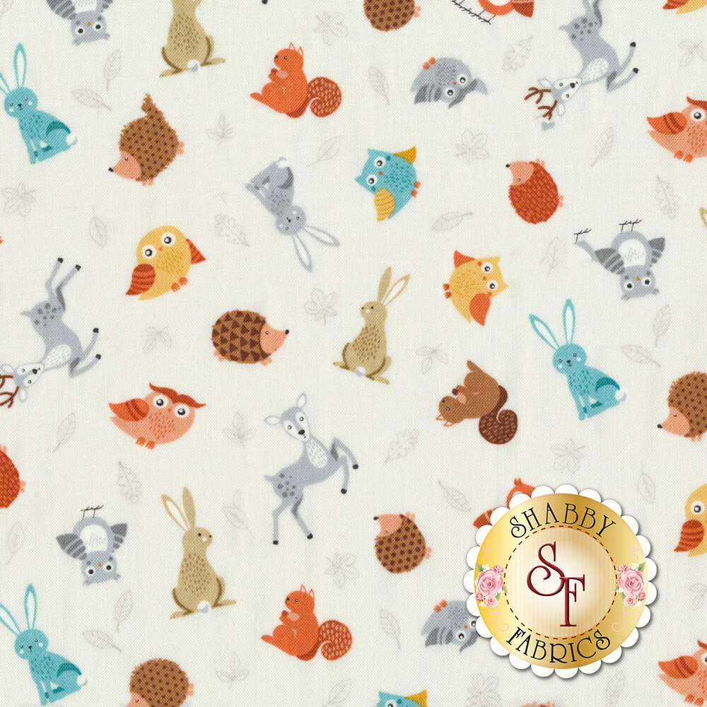 Critters tossed all over white | Shabby Fabrics