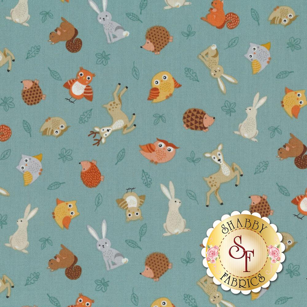 Tossed critters all over blue | Shabby Fabrics