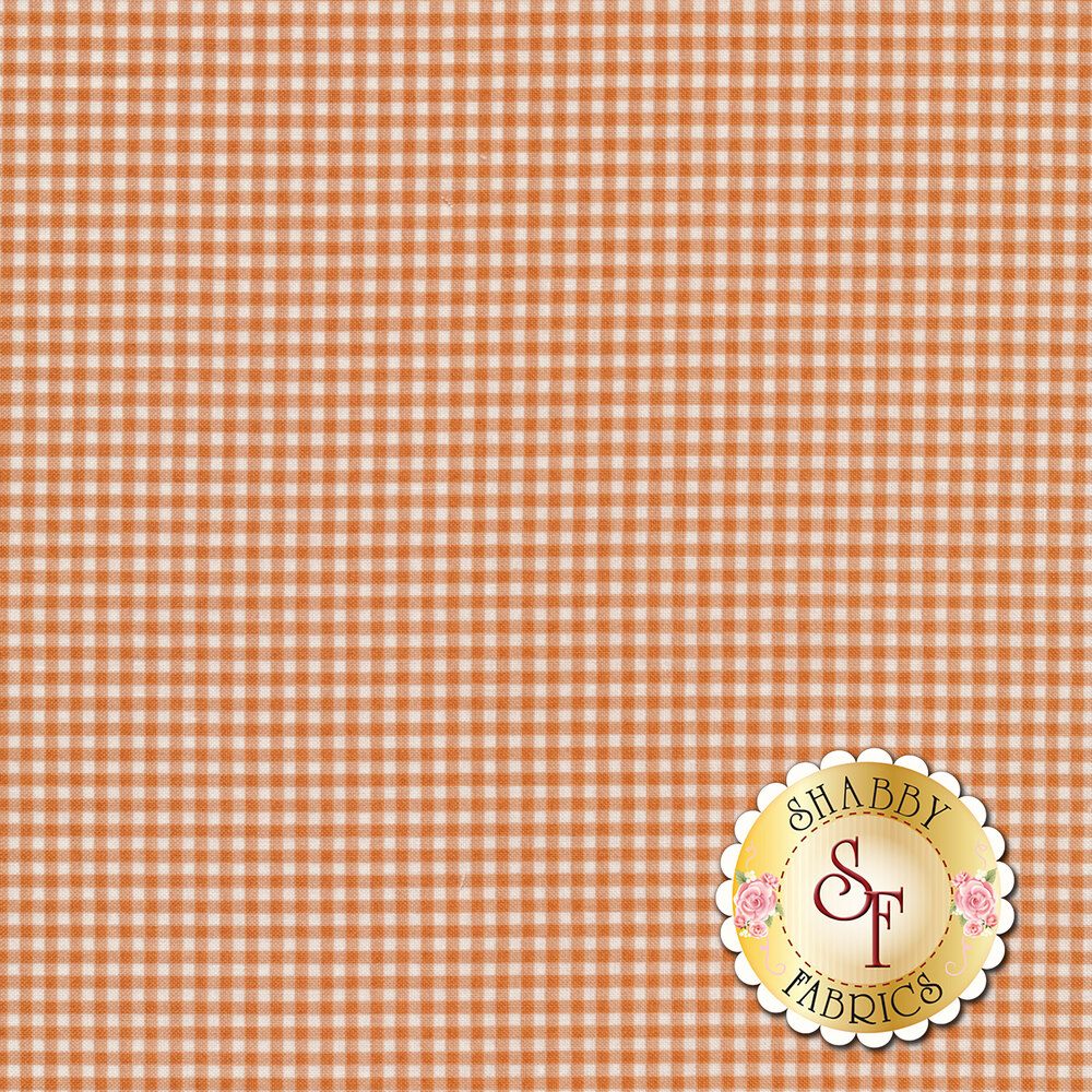 Orange gingham fabric | Shabby Fabrics