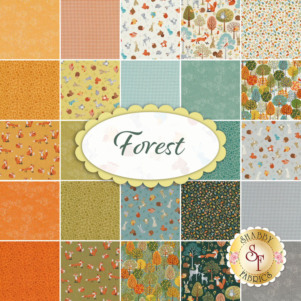 Collage of fabrics included in Forest FQ Set | Shabby Fabrics
