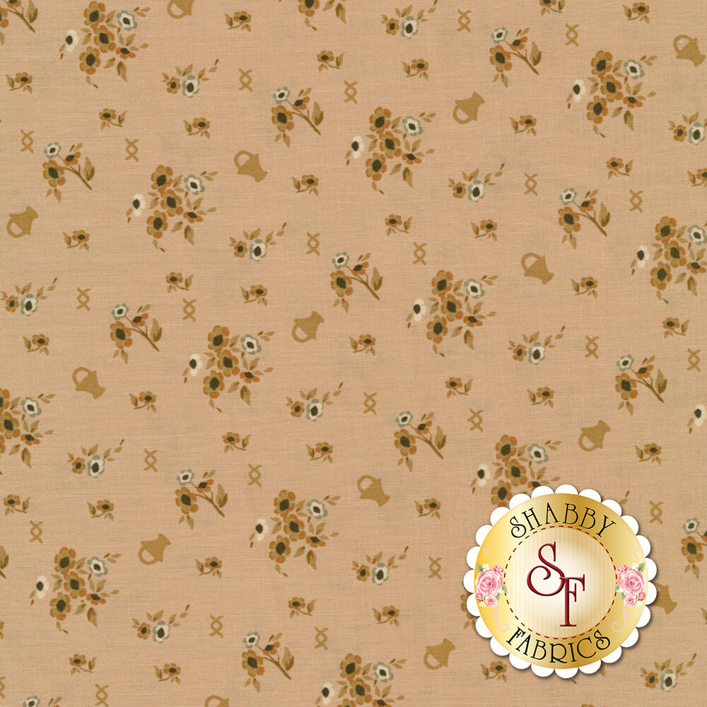 Tan/pink flowers and bouquets tossed on pink | Shabby Fabrics